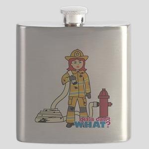 Firefighter Woman Light/Red Flask