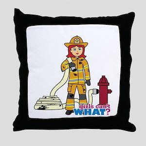 Firefighter Woman Light/Red Throw Pillow