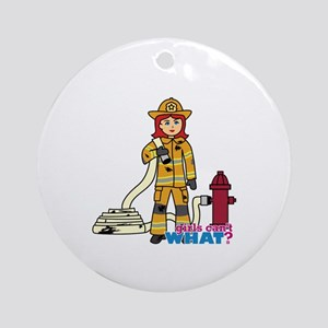 Firefighter Woman Light/Red Ornament (Round)