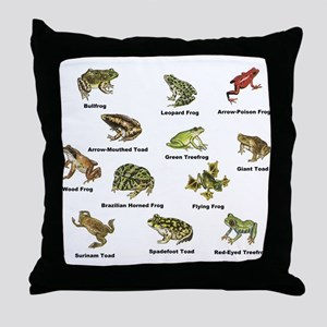 Frog and Toad Types Throw Pillow