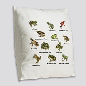 Frog and Toad Types Burlap Throw Pillow