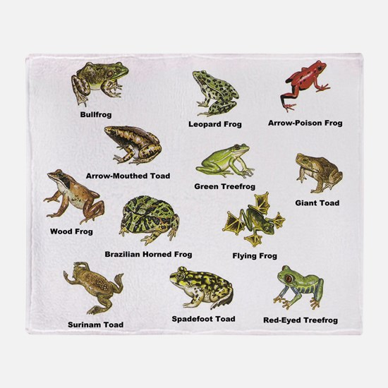 Frog and Toad Types Throw Blanket