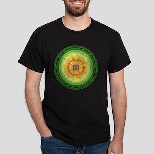 green and orange circle  floral abstr Dark T-Shirt