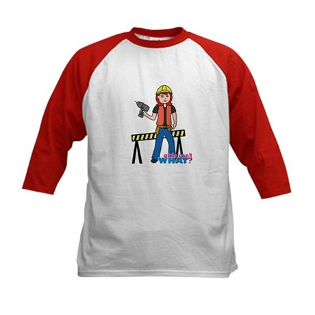 Construction Worker Woman Light/Red Kids Baseball