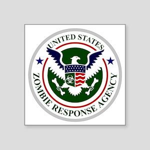 "US Zombie Response Agency Square Sticker 3"" x 3"""