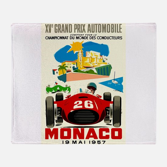 Vintage 1957 Monaco Grand Prix Race Poster Throw B