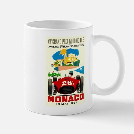 Vintage 1957 Monaco Grand Prix Race Poster Mugs