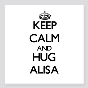"Keep Calm and HUG Alisa Square Car Magnet 3"" x 3"""