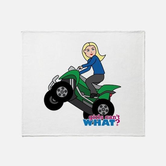 ATV Woman Blonde Throw Blanket