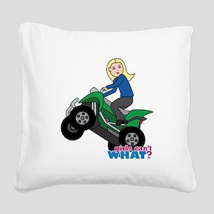 ATV Woman Blonde Square Canvas Pillow
