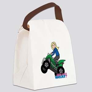 ATV Woman Blonde Canvas Lunch Bag