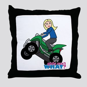 ATV Woman Blonde Throw Pillow