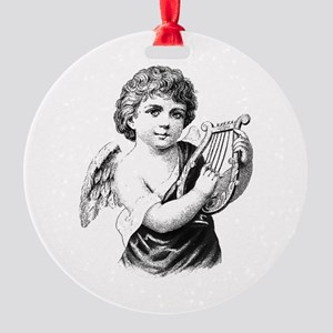 Vintage Christmas Boy Angel with Ha Round Ornament