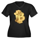 Gold Bitcoin Symbol Plus Size T-Shirt