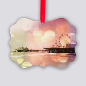 Sparkling Pink Santa Monica Pier Picture Ornament