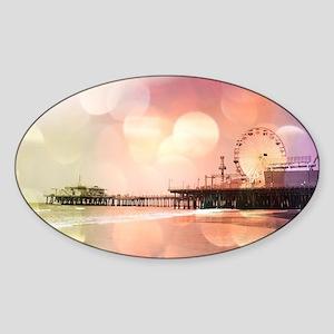 Sparkling Pink Santa Monica Pier Ph Sticker (Oval)