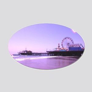 Purple Hearts Pier 20x12 Oval Wall Decal