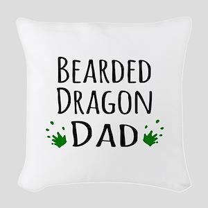 Bearded Dragon Dad Woven Throw Pillow