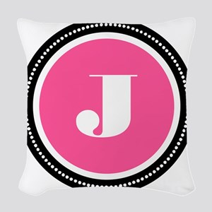 Pink J Monogram Woven Throw Pillow