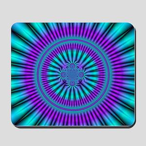 Teal and Purple Mind Warp Fractal Long Mousepad