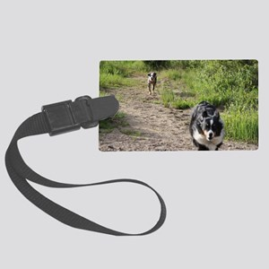 Yipee  dogs running Large Luggage Tag
