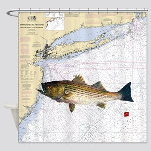 striped bass nautical shower curtain Shower Curtai