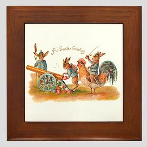 Easter Bunny War Vintage Framed Tile