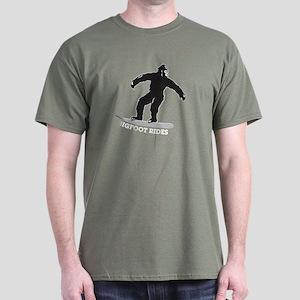 Bigfoot Rides Snowboard Dark T-Shirt