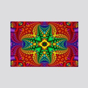 Rainbow Fractal Pattern Rectangle Magnet
