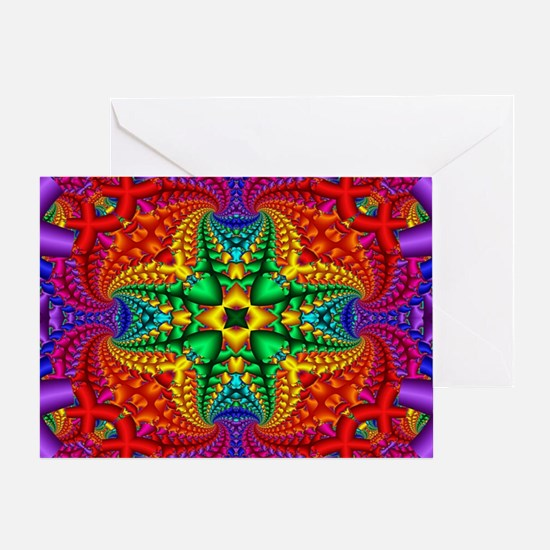 Rainbow Fractal Pattern Greeting Card