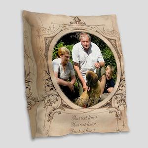 Personalizable Edwardian Photo Frame Burlap Throw
