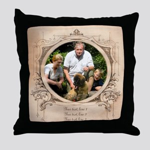Personalizable Edwardian Photo Frame Throw Pillow