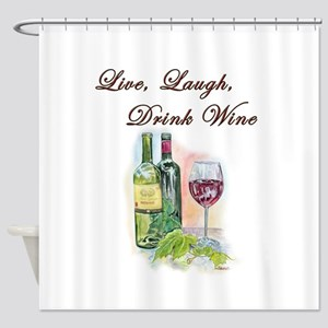 Live Laugh Wine Shower Curtain