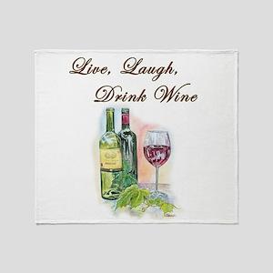 Live Laugh Wine Throw Blanket