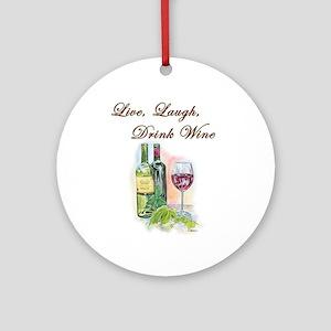Live Laugh Wine (round) Round Ornament