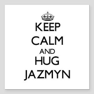 "Keep Calm and HUG Jazmyn Square Car Magnet 3"" x 3"""