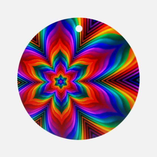 Rainbow Flower Fractal Round Ornament