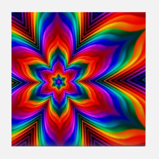 Rainbow Flower Fractal Tile Coaster