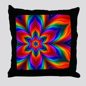 Rainbow Flower Fractal Throw Pillow
