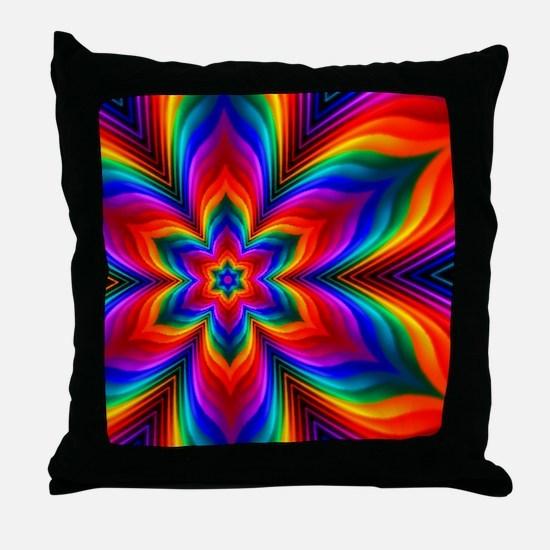 Rainbow Flower Fractal Throw Pillow