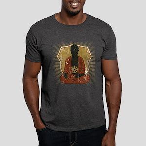 Buddha Meditating With Dharma Wheel Dark T-Shirt