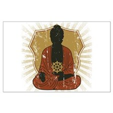 Buddha Meditating With Dharma Wheel Large Poster
