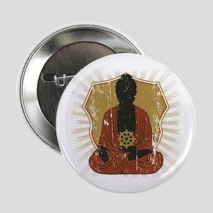 "Buddha Meditating With Dharma Wheel 2.25"" Button"