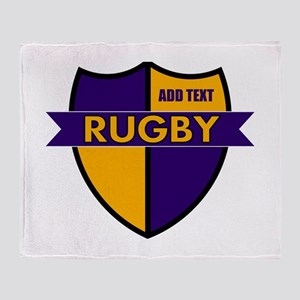 Rugby Shield Purple Gold Throw Blanket