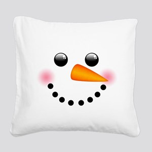 Snowman Face Square Canvas Pillow