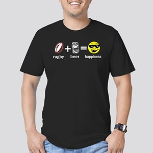 Rugby Plus Beer Equals Happiness Men's Fitted T-Sh