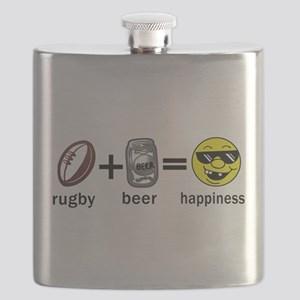 Rugby Plus Beer Equals Happiness Flask