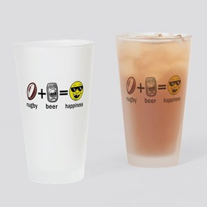 Rugby Plus Beer Equals Happiness Drinking Glass