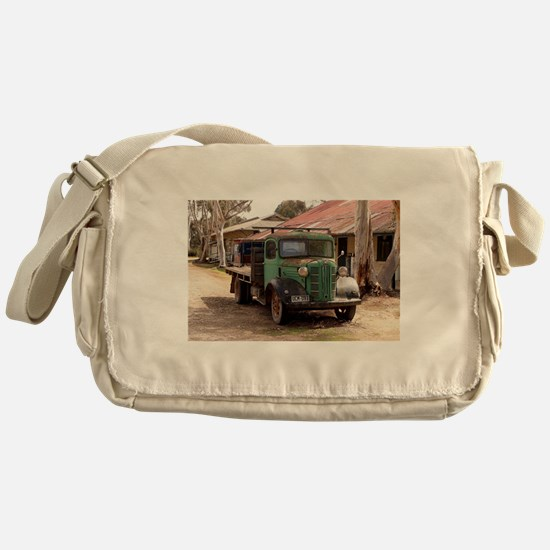 Old green truck Messenger Bag