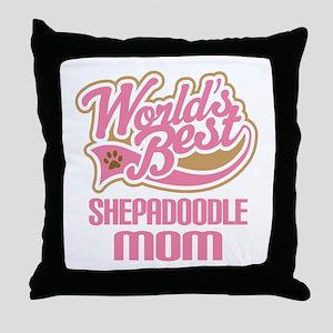 Shepadoodle Dog Mom Throw Pillow